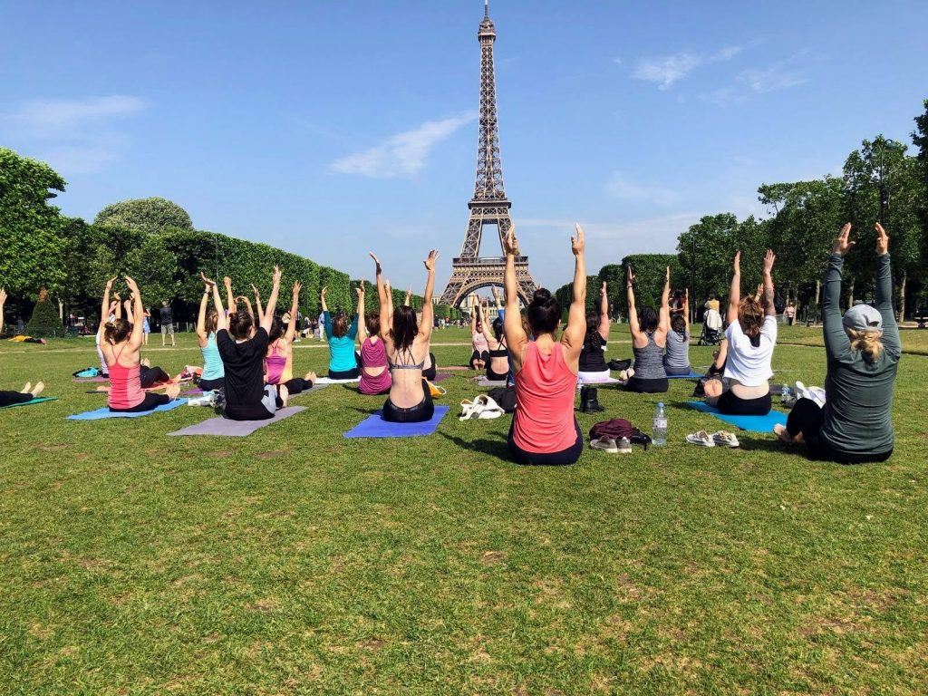 Yoga in Paris in front of the Eiffel Tower