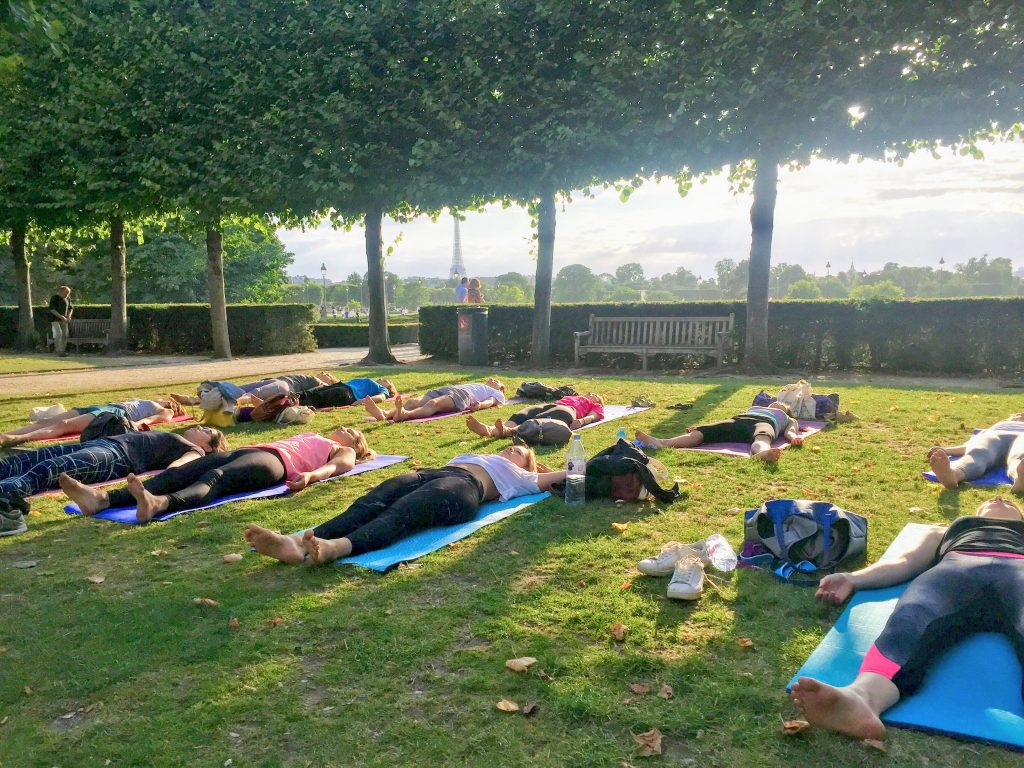 Yoga in Paris: savasana bliss in the tree grove of Jardin des Tuileries